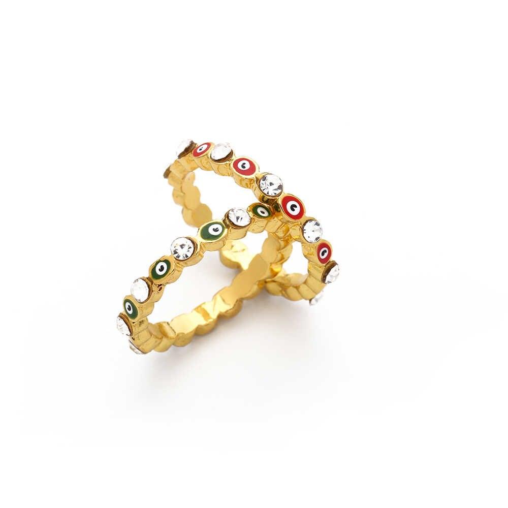 2020 ใหม่Bohemian Rainbow Evil Eye Rhinestone Filled Goldแหวนผู้หญิงวินเทจสุภาพสตรีMidi Kunleนิ้วมือแหวนแหวนทองชุด