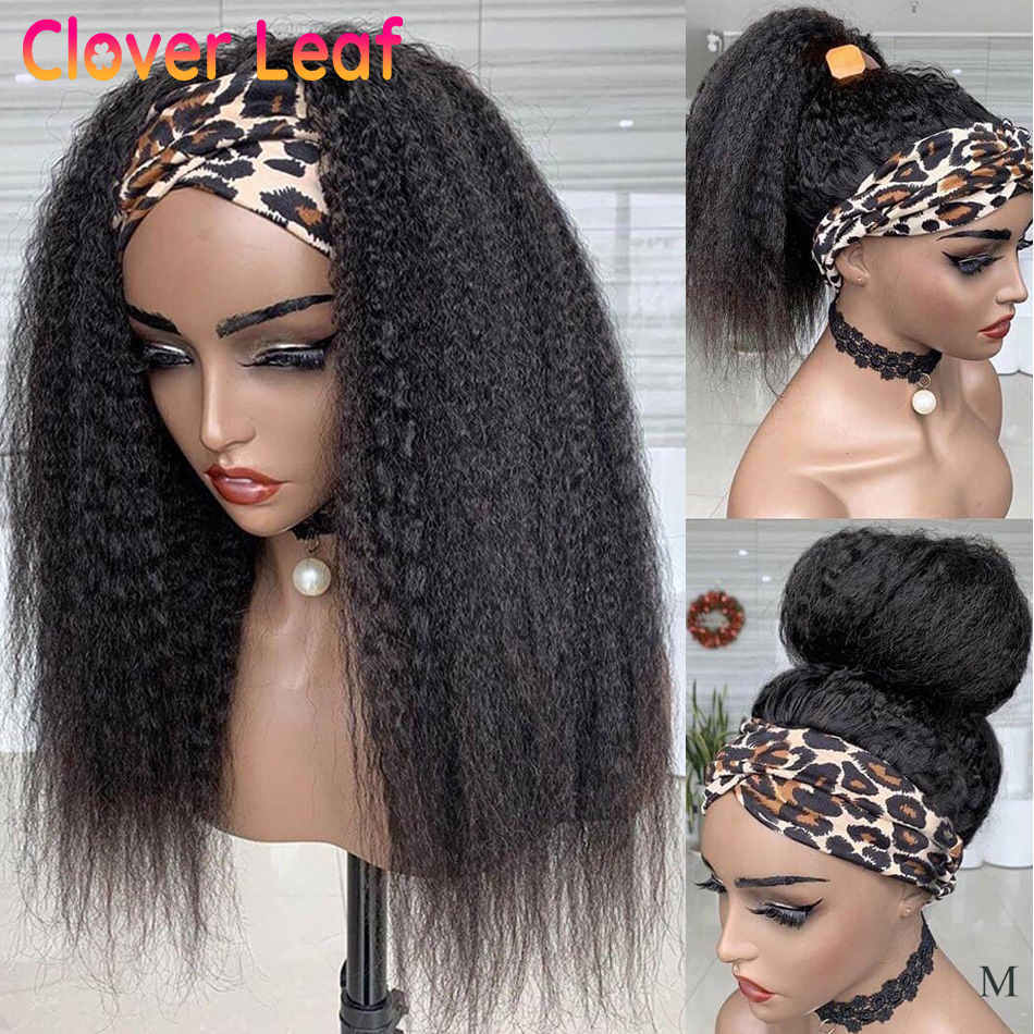 Clover Leaf Headbands Kinky Straight Wig Remy Headband Wigs 150% Brazilian No Glue Head Band Wigs Human Hair For Black Women