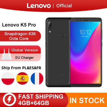 Orijinal küresel sürüm Lenovo K5 Pro 4GB RAM 64GB Snapdragon 636 Octa çekirdek dört kameralar 5.99 inç 4G LTE Smartphone