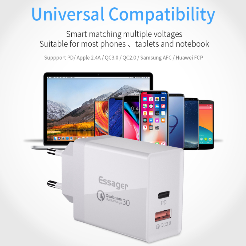 Essager Usb-Charger Plug-Turbo QC3.0 Type-C Fast-Charging-Wall PD 1pcs 36W