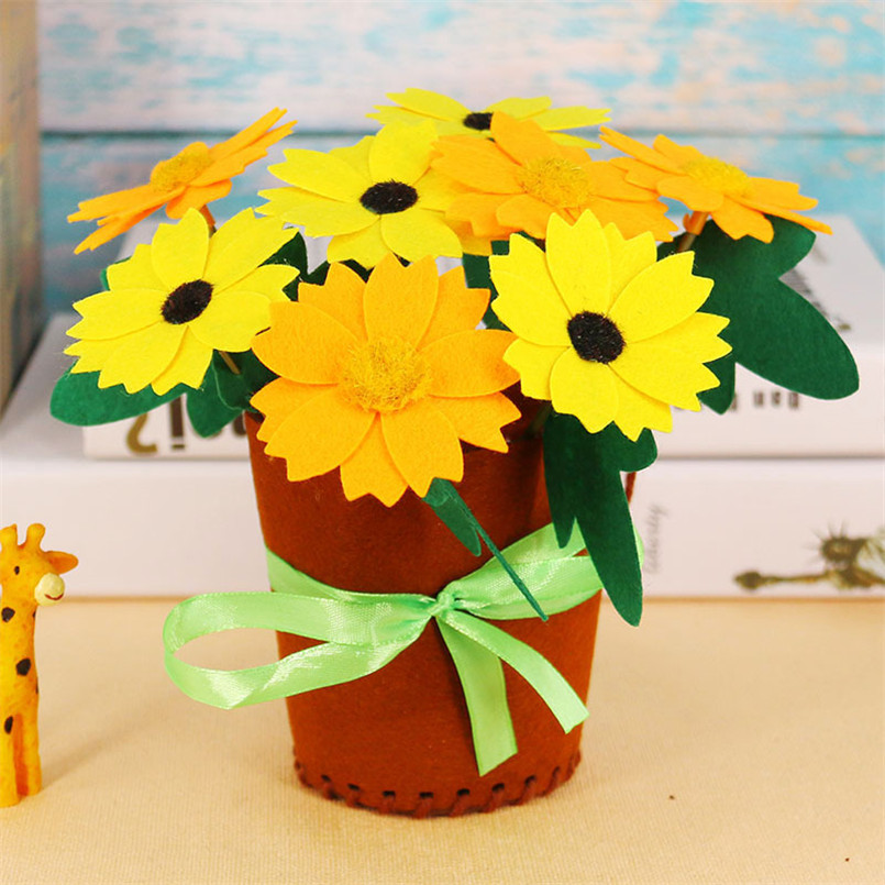 4 Pcs Flower Pot DIY Crafts Toys For Kids Potted Plant Handmade Flowers Bouquet Kindergarten Teaching Aids Toy Girls Christmas