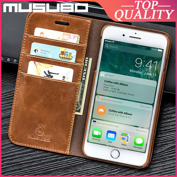 Musubo Genuine Leather Case For iPhone SE 2020 8 Plus 7 Plus 6 6s X Xs Max Luxury Cases Cover Card Slot Wallet Casing Funda Capa