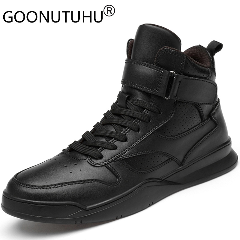 2019 Autumn Winter Men's Shoes Casual Genuine Leather Male Flats Sneakers High Top Black & White Shoe Man Platform Shoes For Men