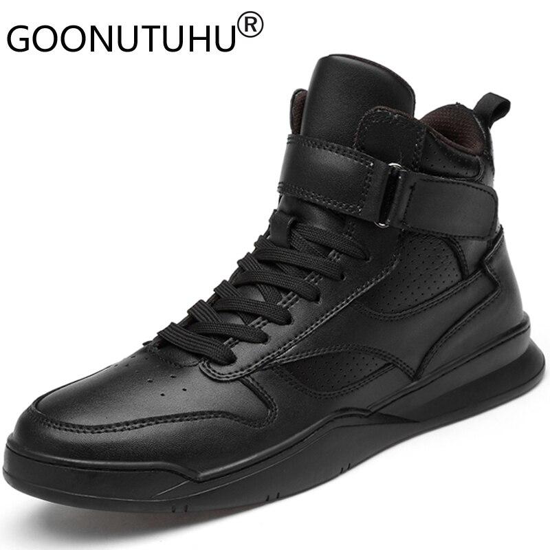 2019 г. Осенне зимняя мужская обувь повседневная мужская обувь из натуральной кожи на плоской подошве, кроссовки с высоким берцем, черная и белая обувь мужская обувь на платформе