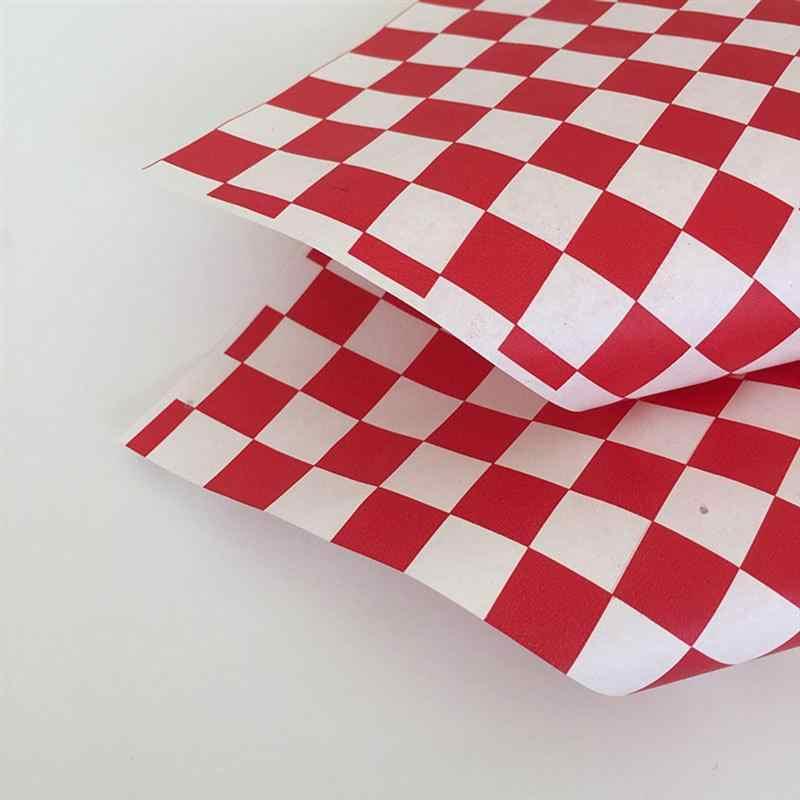 100 Pcs Rode En Witte Raster Pizza Olie Vel Papier Gebakken Voedsel Liners Hamburger Inpakpapier Voor Bakken Gebak