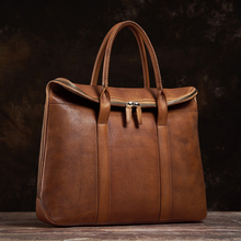 NUPUGOO Genuine Leather Vintage man Handbag Briefcase Men Shoulder Brown High Quality Business