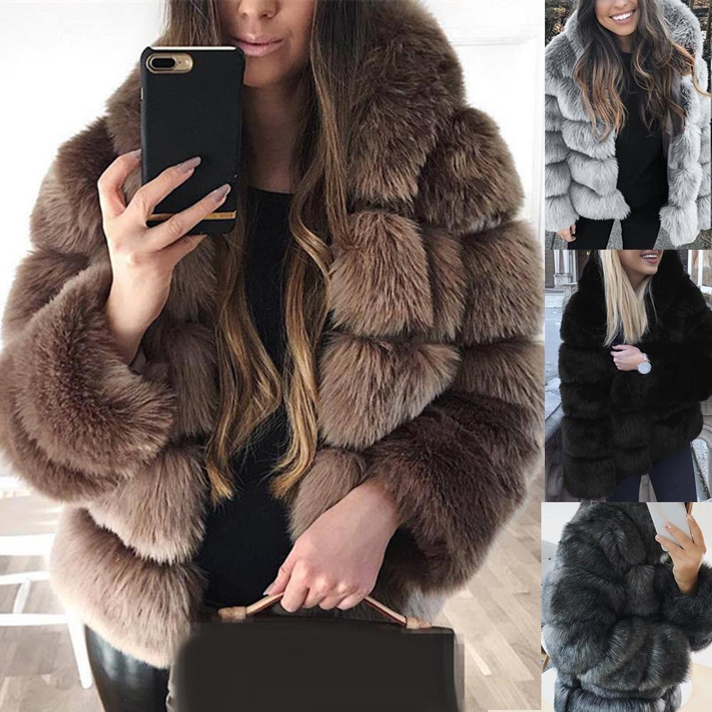 Vintage Fluffy Faux Fur Coat Women Short Furry Fake Fur Winter Outerwear Coat 2020 Autumn Casual Party Overcoat Jacket Outerwear