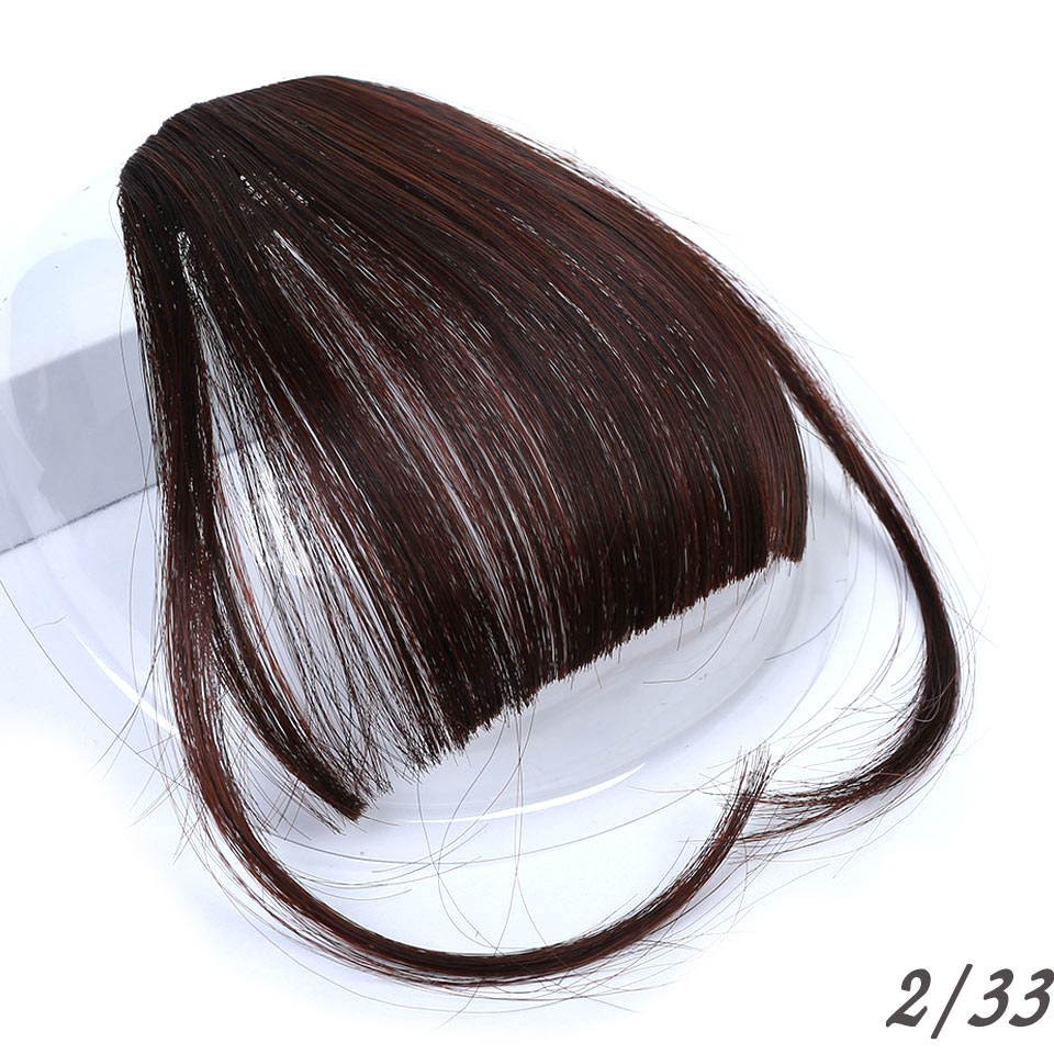 WTB Black Brown Blonde Fake Fringe Clip In Hair Extensions With Bangs High Temperature Fiber Synthetic Hair Blunt Fake Bangs