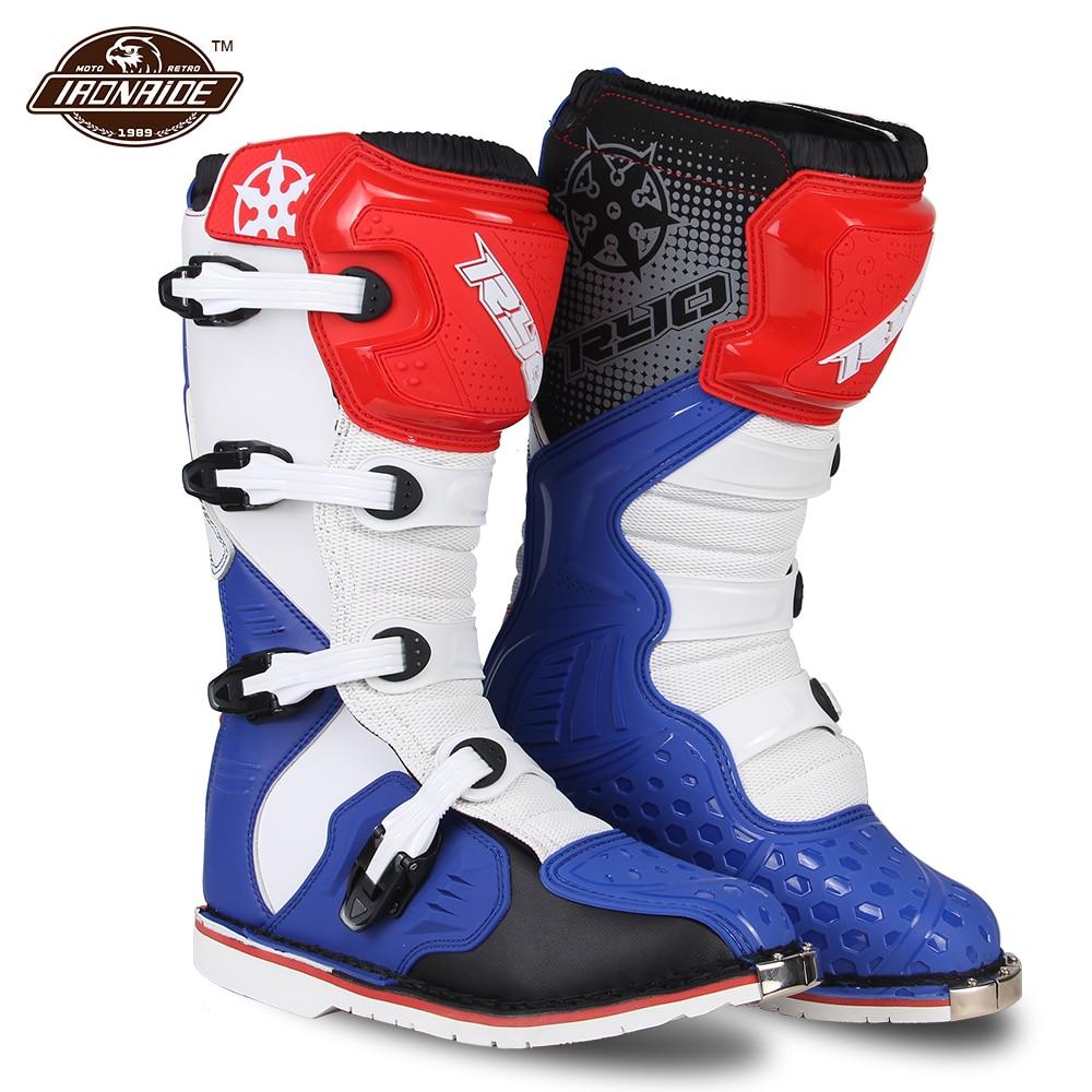 Мотокросс сапоги кожаные мотоботы в стиле ретро; Botas мото внедорожный Верховая езда сапоги обувь для катеров для мужчин; Цвет черный, синий; ...