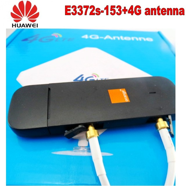 100pcs Unlocked Huawei e3372s-153 4G LTE USB Dongle USB Stick Datacard Mobile Broadband USB Modems 4G antenna 5