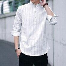 Brand Men Banded Collar Casual Shirt Full Sleeve Slim Fit Dress Shirt Men Business Easy Care Collarless Shirts Camisa Masculina