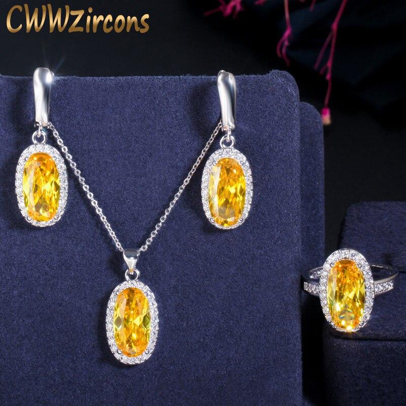 CWWZircons magnifique coupe parfaite grand ovale jaune cubique zircone pendentif boucle doreille et bague mode CZ femmes fête bijoux ensembles T221