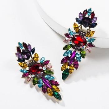 KMVEXO Colorful Crystal Drop Earrings Women Round Geometric Pendant Dangle Earrings Indian Bridal Statement Jewelry Party Bijoux 18