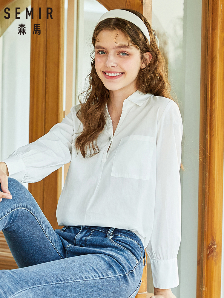 SEMIR 2020 Spring And Autumn New Long Sleeve Blouse Women V-neck Shirt Loose Cotton Inch Shirts