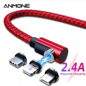 ANMONE-Cable magnético de carga rápida de 90 grados para iPhone, XS, Max, xiaomi, note8, Micro USB tipo C