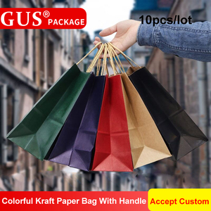 Image 3 - 10 יח\חבילה 4 גדלים חתונה מסיבת חבילה בגדי מתנות אופנתי למחזור קראפט שקית נייר עם ידית Twisted bolsas דה papel