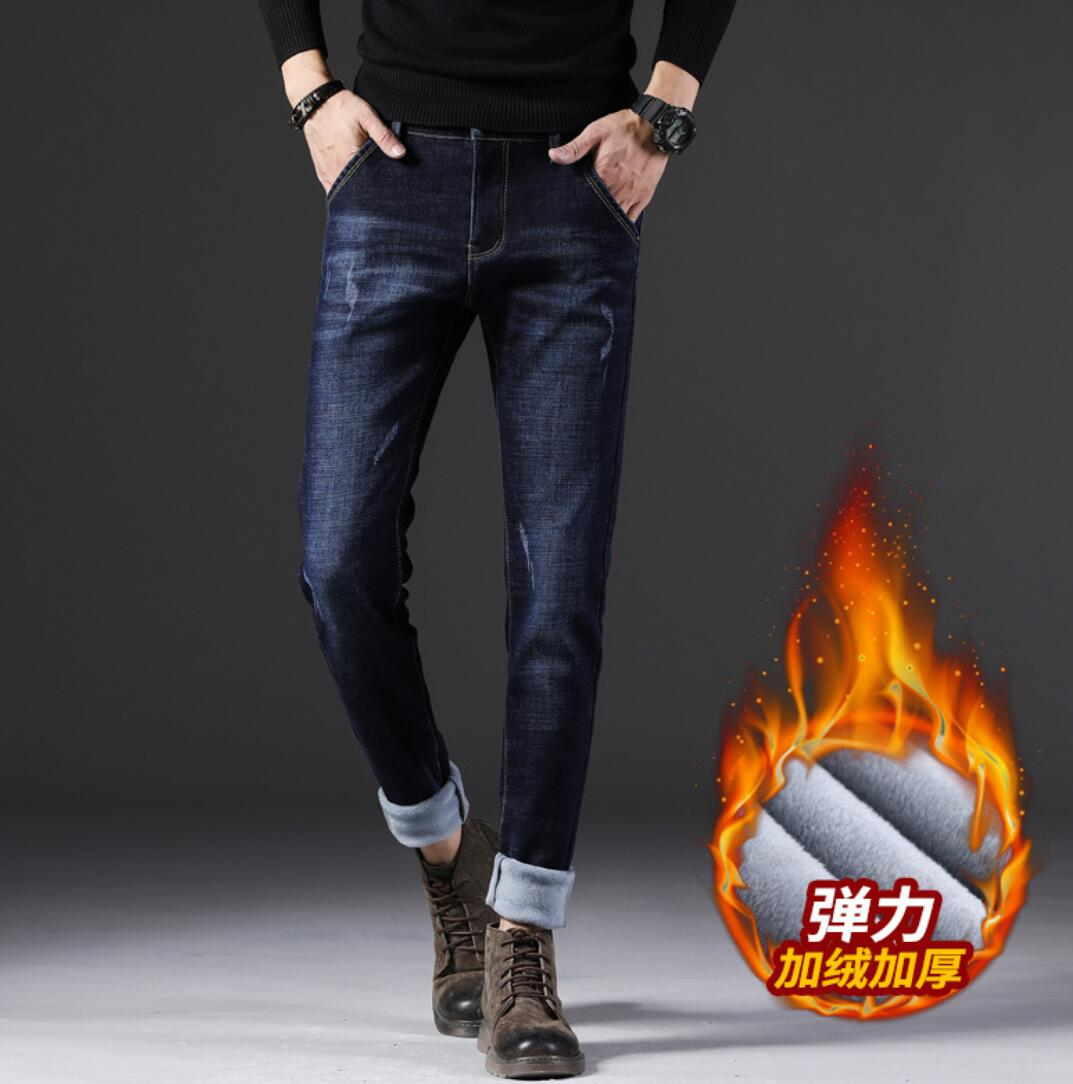 2019 NEW Winter New Plus Maa1 Velvet Fashion Thick Denim Stretch Trousers Men KY717-1