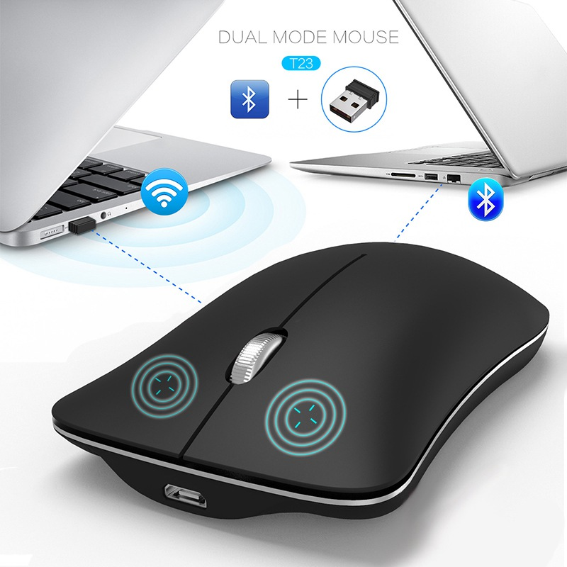 VisTsing 1600 DPI Gaming Mouse 2.4G Wireless Mice Bluetooth 4.0 Computer Laptop Dual Mode Gamer Optional Click Silence