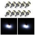 10 шт. светодиодный лампочка для салона автомобиля Canbus Error Free T10 белый 5730 8SMD светодиодный 12V автомобиль клиновидные боковые светильник белый а...