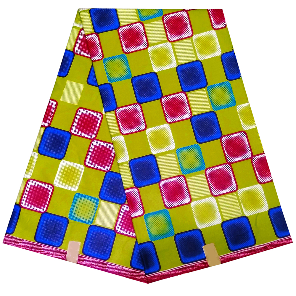 2019 New African Fabric Colorful Lattice Print Guarantees Veritable Wax Fabric For Women Clothes