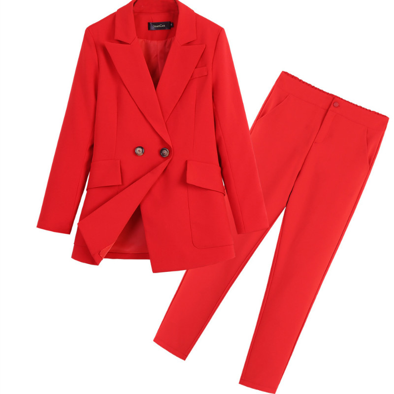 Casual High Quality Women's Suits Pants Suit Autumn New Slim Red Ladies Red Jacket Small Suit Female Large Size Slim Trousers
