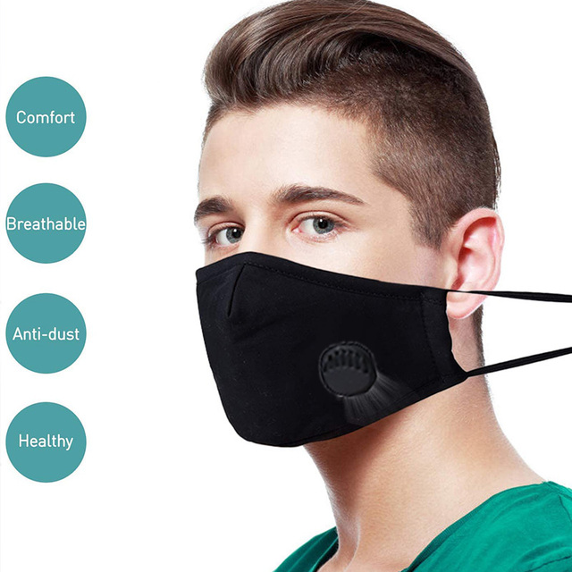 3 Pack Anti Dust Men Women Masks, Washable Face Masks Cotton Mouth Masks with PM 2.5 Filters and Adjustable Straps 3