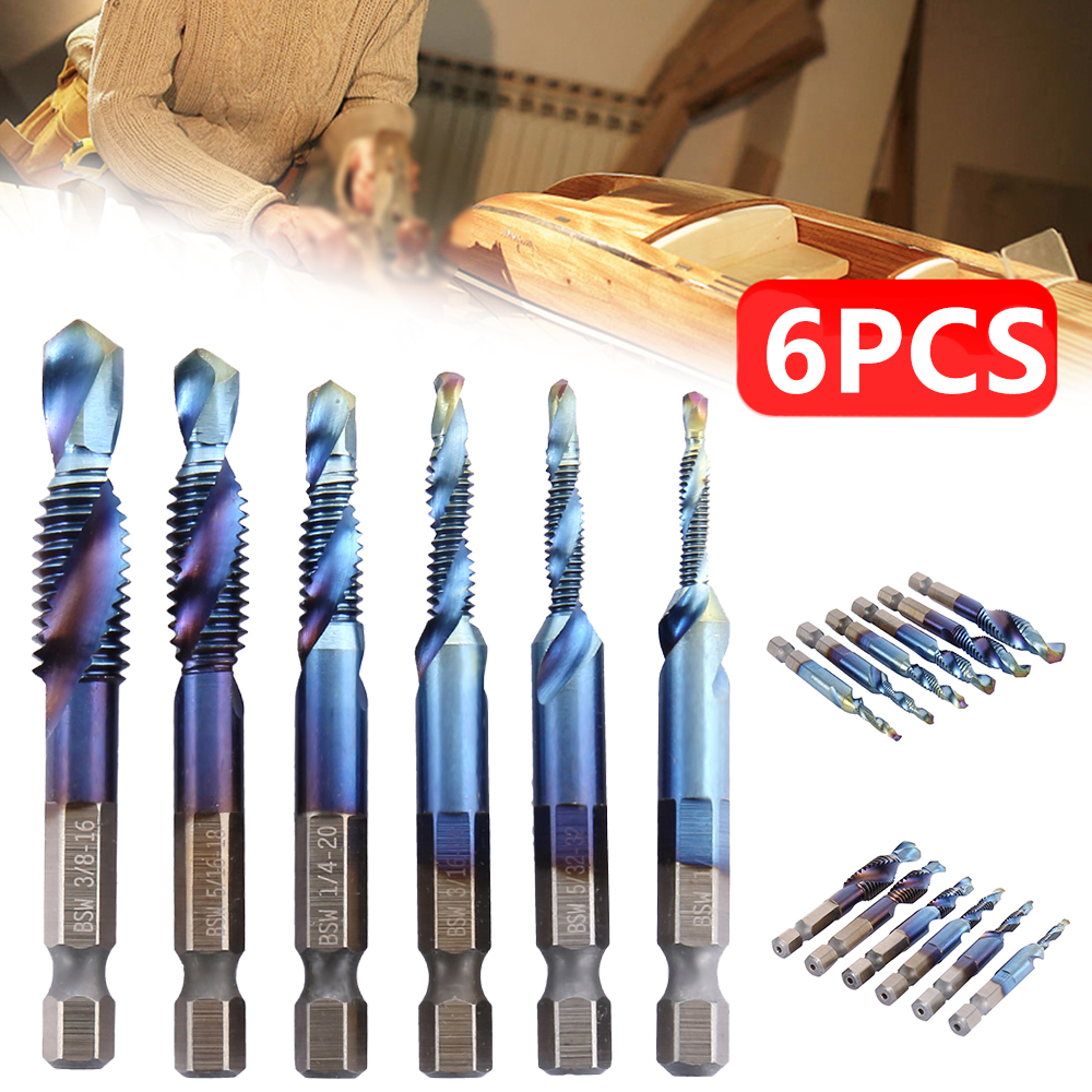 6PCS Drill 0.5mm 0.7mm 0.8mm 1mm 1.25mm 1.5mm Hexagon Shank Drill Compound Tap Suitable For Soft Metal Aluminum Plate Iron Plate