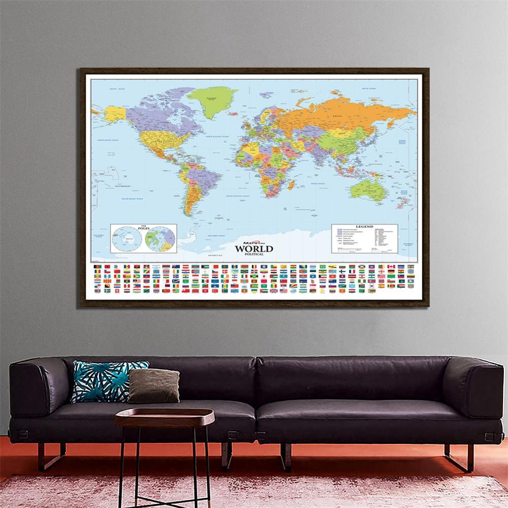 150x225cm The World Political Map Hammer Projection With National Flags For Culture And Education