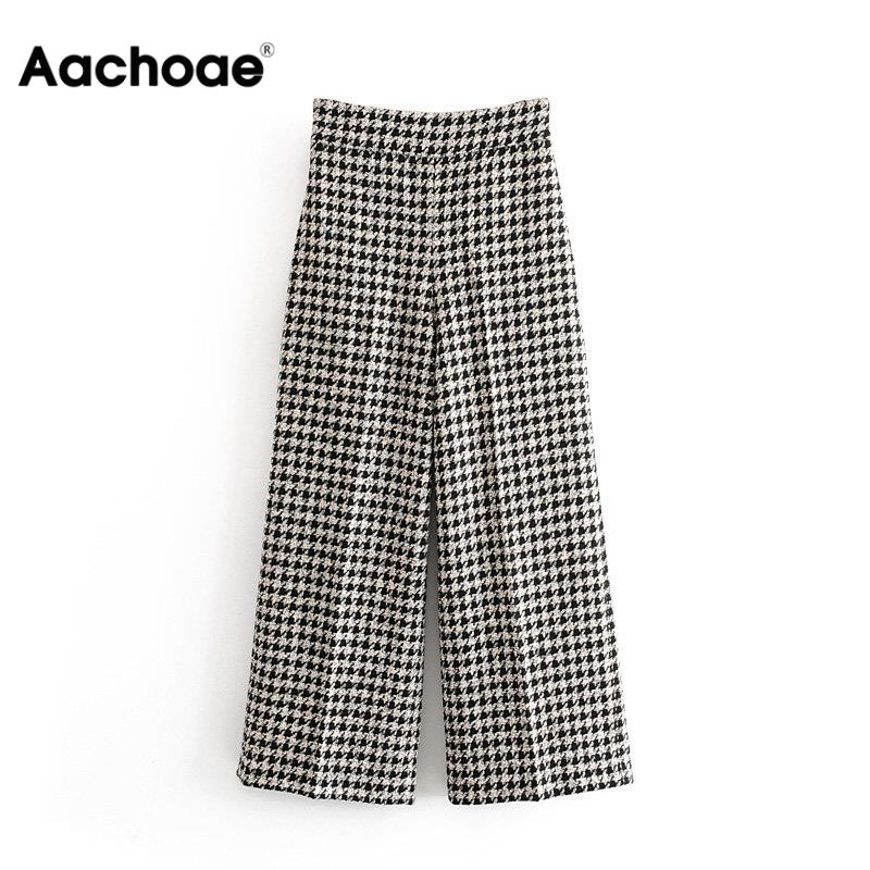 Aachoae Plaid Printed Tweed Pants Women Loose Wide Leg Trousers Elegant Ladies Houndstooth Office Bottoms Female Pockets Patns
