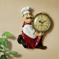 Resin Chef Cute Wall Clock Home Watch Bathroom Kitchen Clock vintage Wall Watches Home Decor Wall Clock Modern Design SP822115