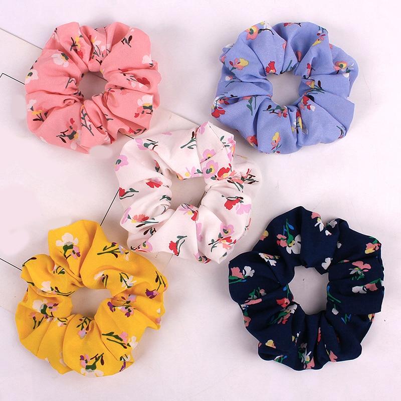 Printed Floral Scrunchies Women Dot Hair Ties Boho Elastic Hairband Woman Hair Accessories Girls Ponytail Holders
