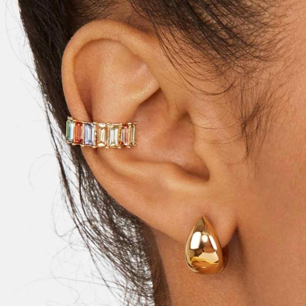 WELBACK ขนาดเล็ก EAR Cuff ต่างหูผู้หญิงสีสัน Zirconia Crystal STACKABLE C คลิปต่างหูไม่มีหูเจาะหูเครื่องประดับ