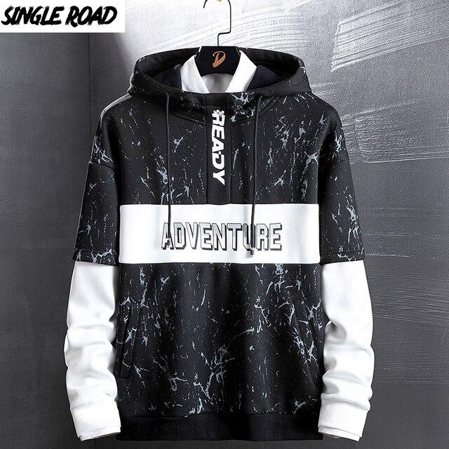 SingleRoad Mens Hoodies Men Women Autumn Camo Sweatshirt Men Hip Hop Harajuku Japanese Streetwear Black Hoodie Sweatshirts Male