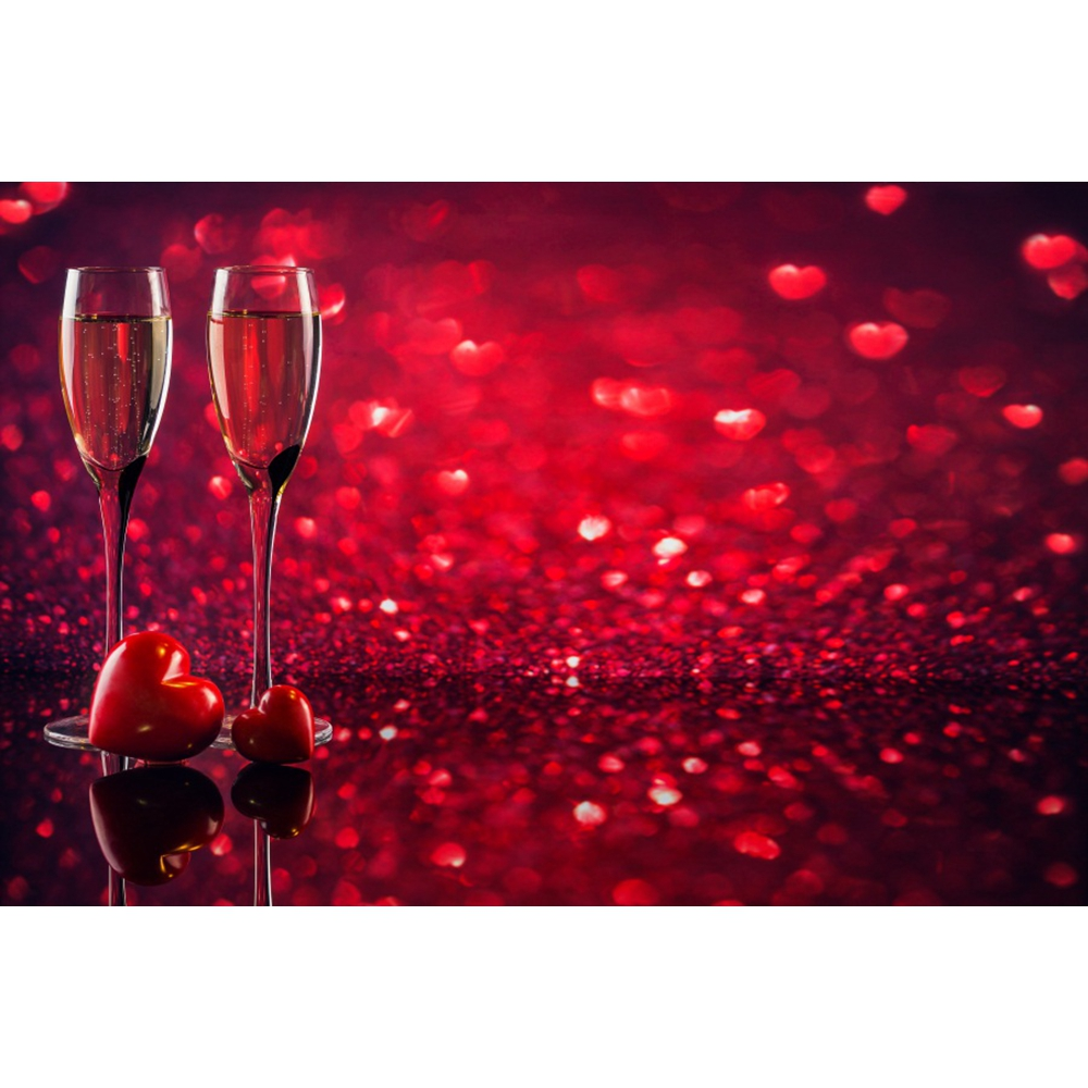 Love Heart Red Light Bokeh Patry Cupid The 14th of February Photo Backdrops Custome Photographic Backgrounds For Photo Studio