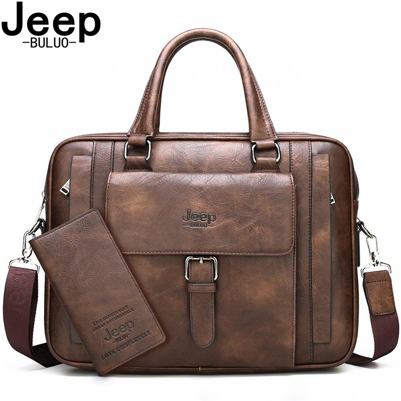 JEEP BULUO Brand Business Handbag Male Shoulder Travel Bags Big Size Men Briefcase Bags For 15.6 Inches Laptop Split Leather New