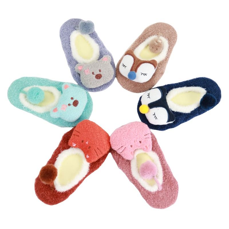 Newborn Baby Kids Spring Autumn Winter Slipper Fox Coral Fleece Cute Cartoon Animal Soft Socks