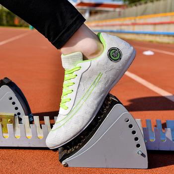 Nit buty konkursowe młodzieżowe długie sprintowe buty lekkoatletyczne kolce męskie i damskie buty treningowe lekkoatletyczne tanie i dobre opinie NoEnName_Null CN (pochodzenie) Podłoga PCV Profesjonalne Adult Buty utwór i pola Sznurowane Dobrze pasuje do rozmiaru wybierz swój normalny rozmiar
