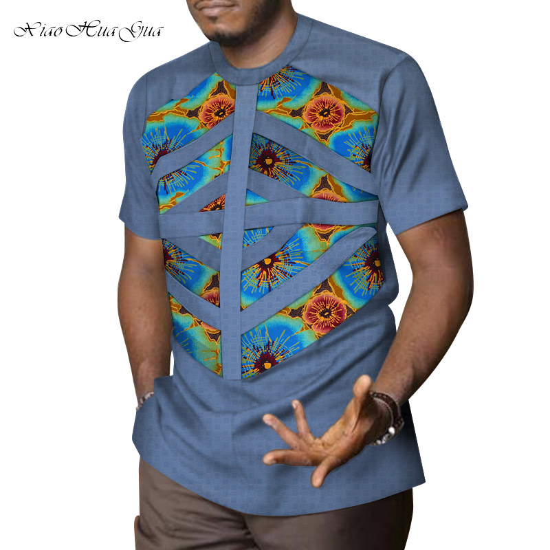 2019 Mens African Clothing Dashiki Patchwork Print Shirt Tops Bazin Riche Casual 100% Cotton Traditional African Clothing WYN958