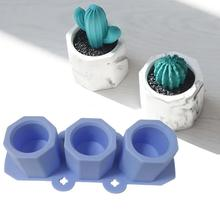 Random Color 3 In 1 DIY Flowerpot Silicone Mold Cement Pot M