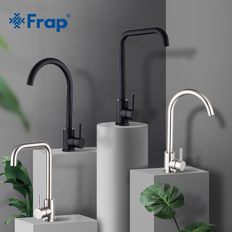 Frap High Quality Stainless Steel Black Spray Paint Kitchen Sink Faucet Single Handle Cold and Hot Water Mixer Faucets Y40001/3