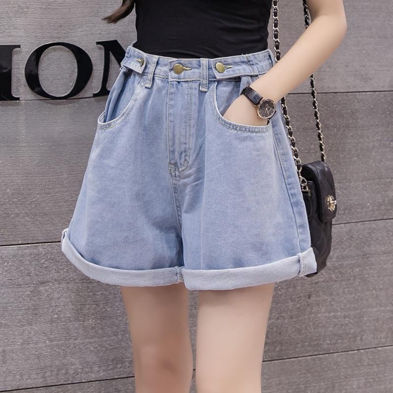 Women Denim Shorts Crimping Slim New Wear High Waist Casual Loose Wide Leg  A-lineFashion Female Jeans