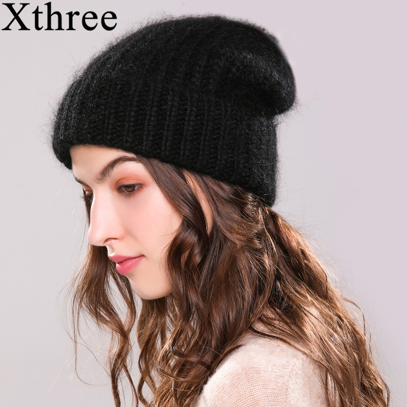 Xthree  Angola Rabbit Fur Knitted Hat Beanie Winter Hat For Women Bonnet Girl 's Hat Autumn Female Cap Keep Warm