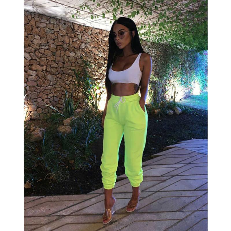 2019 Moda Kadın Pantolon Hip Hop Pantolon Yeni Sonbahar Kış Yüksek Bel Elastik gündelik bol pantolon Bayan Spor Salonu Slim Fit Dans Pantolon