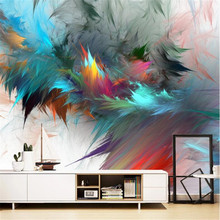 Milofi Nordic abstract watercolor art colorful feather living room background wall