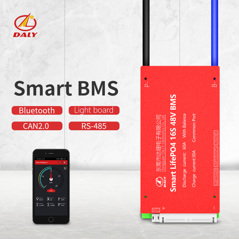 Daly Smart BMS  16S 48V  Bluetooth+485 To USB Device +CAN+NTC +UART  Togther Lion LiFePO4 LTO  Batteries2.3V/2.4V Conn