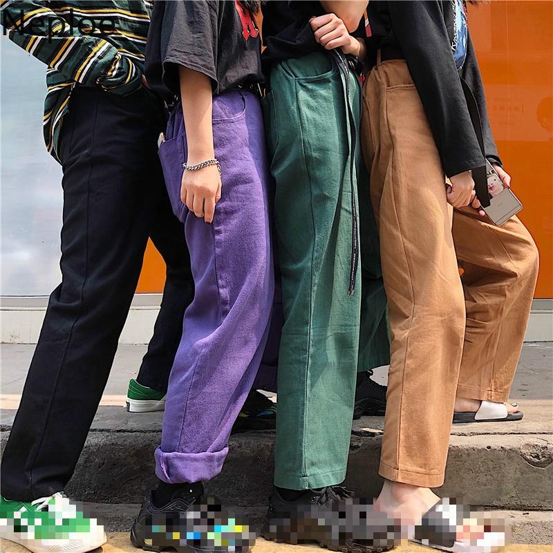 Neploe Harajuku High Waist Female Jeans Vintage Zipper Fly Pockets Pants Korean Casual BF Women Men Wide Leg Trousers 80581