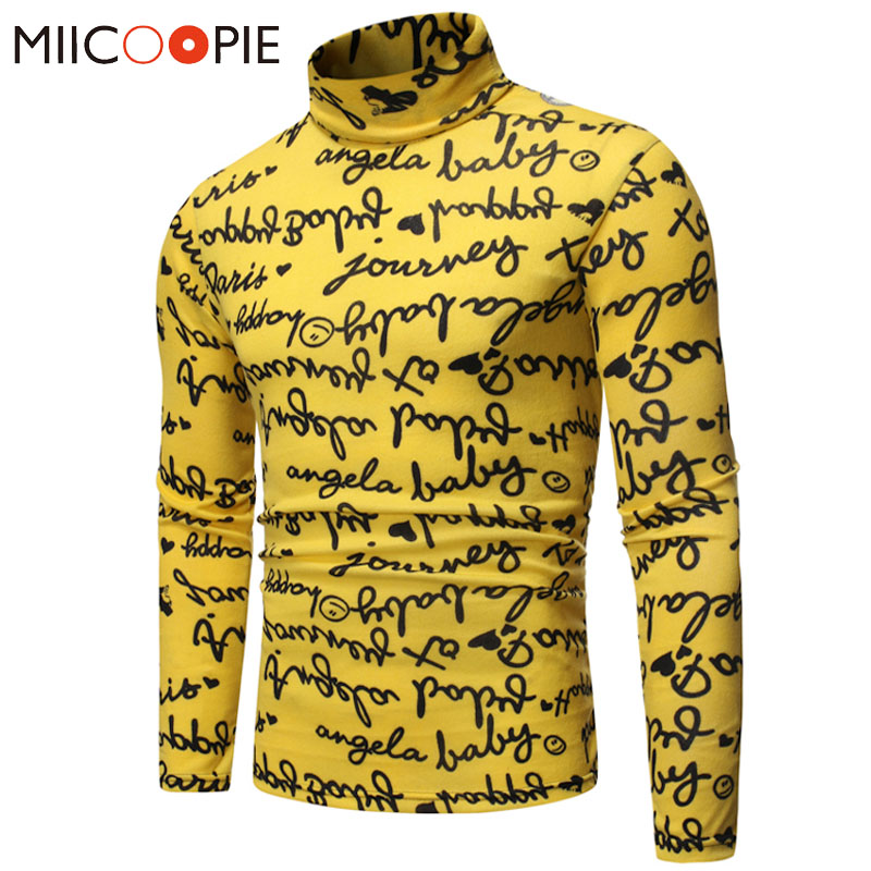 Men Yellow Turtleneck Sweater Fashion Male Letter Printed Pullover Knitted Sweaters Jackets Slim Hip Hop Streetwear Pull Homme