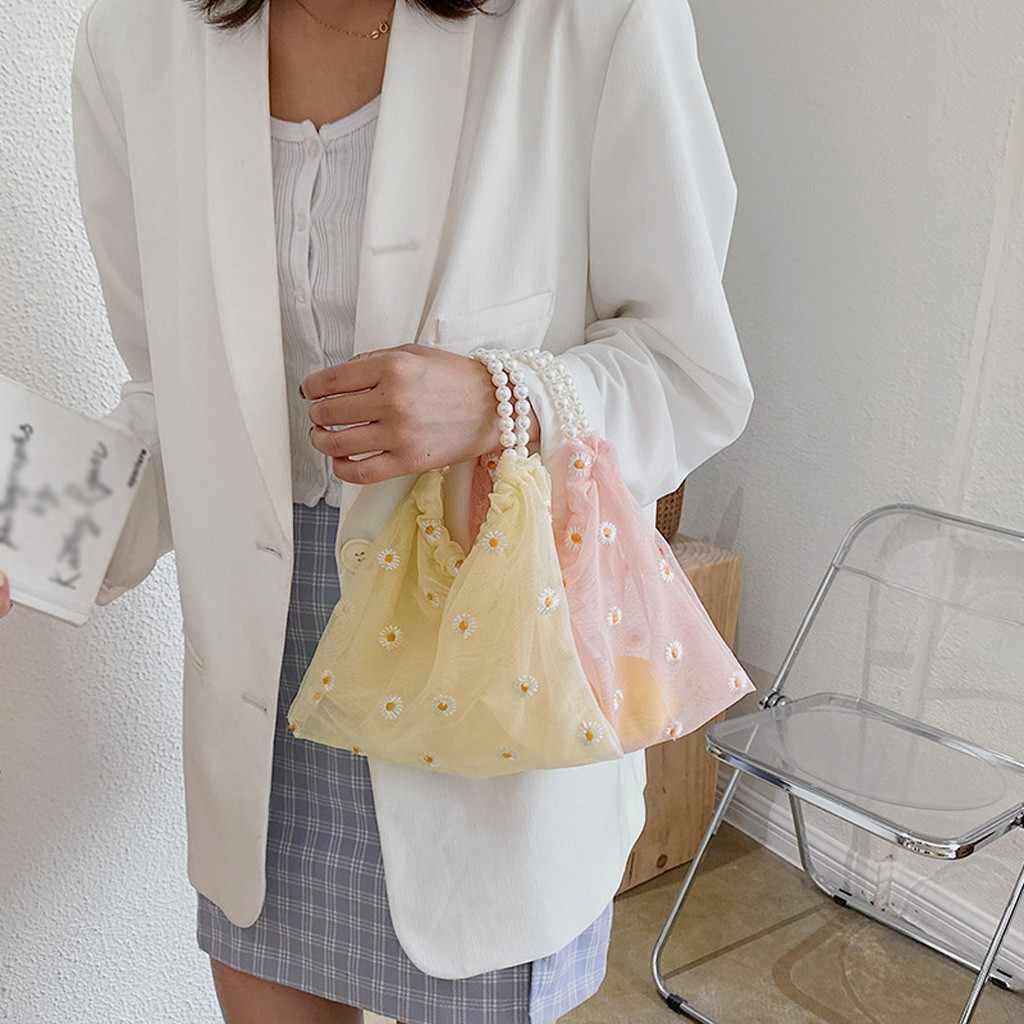 Mode frauen 2020 Mesh strand tote tasche Große Kapazität designer Blume print Messenger Bags für frauen 2020 женские сумки