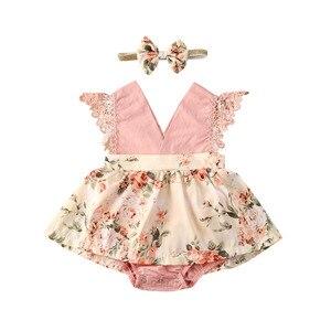 Newborn Infant Baby Girls Bodysuits Dress Floral Sleeveless Lace Pink V Neck Princess Jumpsuits Headband 0-24M(China)
