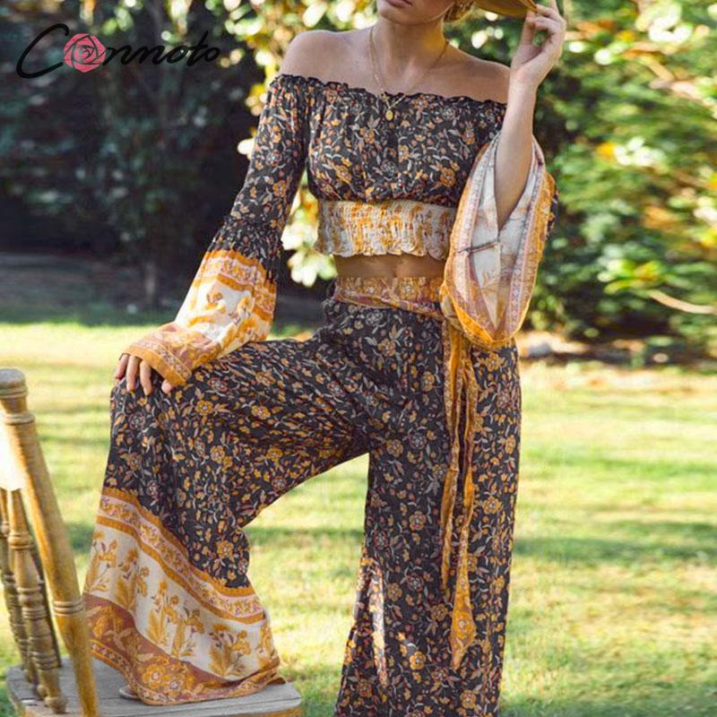 Conmoto Long Sleeve Bohemian Jumpsuit Set Women Wide Leg 2019 Autumn Winter Jumpsuits Bow Wladies Long Romper